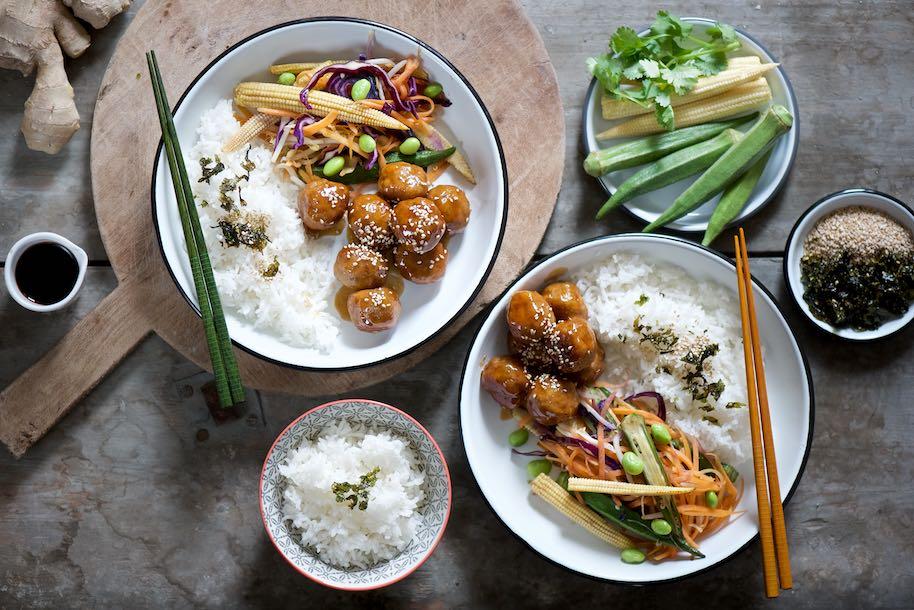 polpette asiatiche con salsa teriyaki