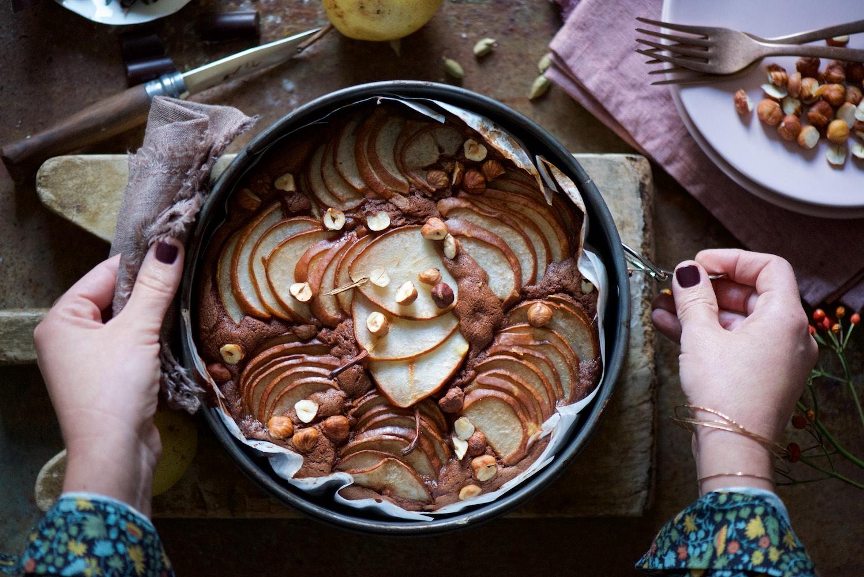 torta morbida al cioccolato e pere