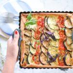 tarte con melanzana,pomodoro,zucchina a fettine