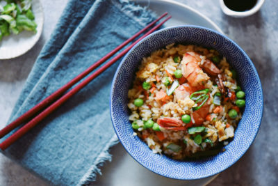 fried rice con gamberi