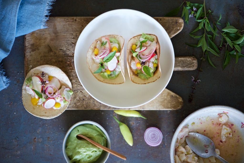 tacos con ceviche di capesante