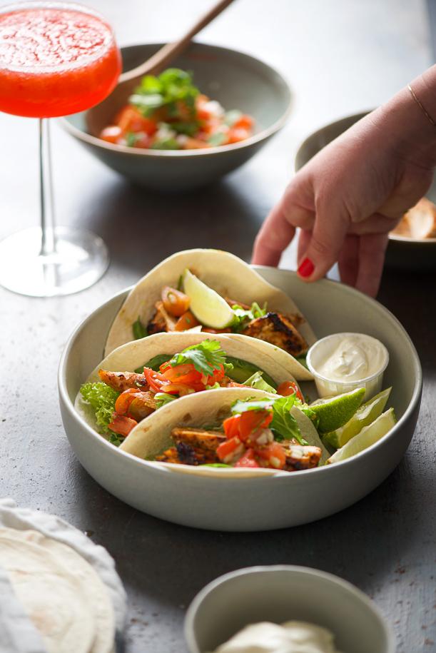 tacos di pollo con frozen margarita alle fragole