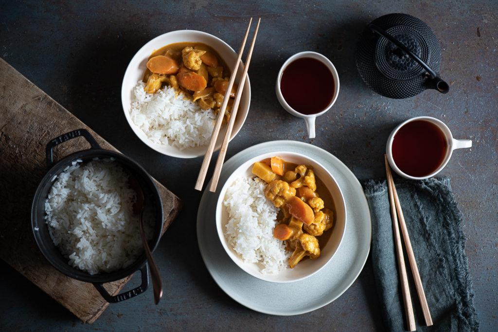 curry giapponese di verdure con riso